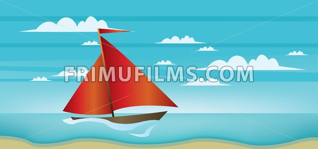 Abstract landscape with red boat, blue sea, white clouds ...