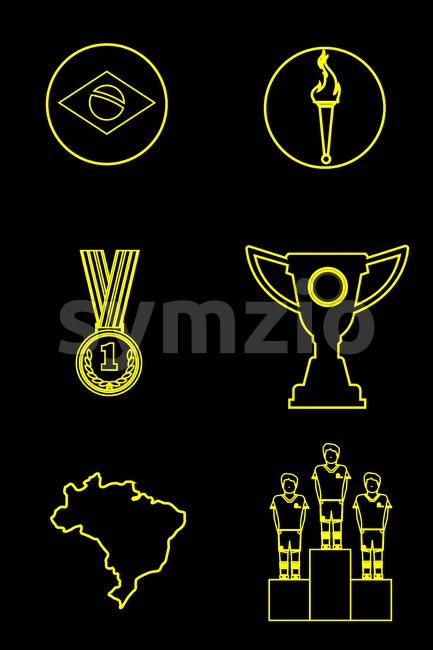 Digital vector brasil sport icons set, flag, torch, cup, medal, flat style Stock Vector