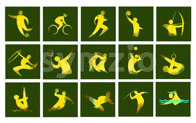 Digital vector image. Sport card icons set with an yellow abstract performer, stick figure. Stock Vector