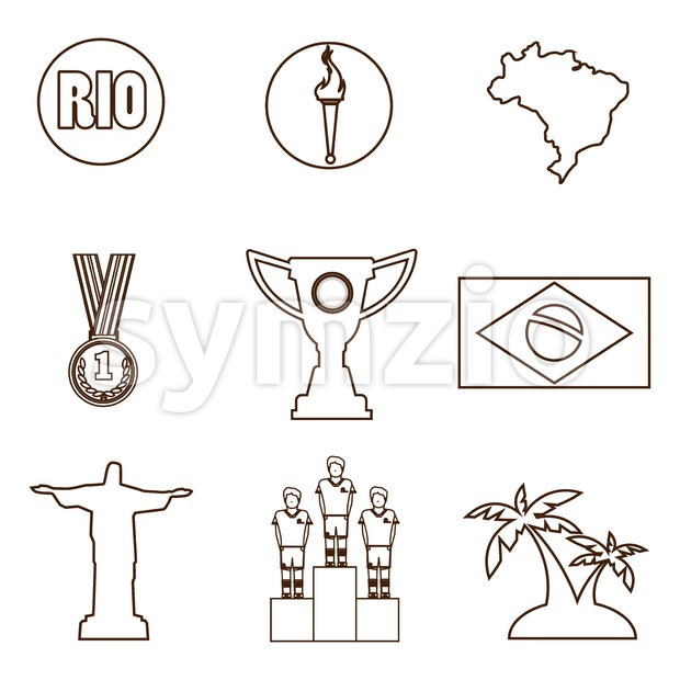Rio, gold medal, burning torch and brazil flag icons set in outlines. Digital vector image. Stock Vector