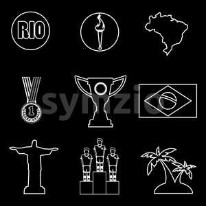 Rio, gold medal, burning torch and brazil flag icons set in outlines over black background. Digital vector image. Stock Vector
