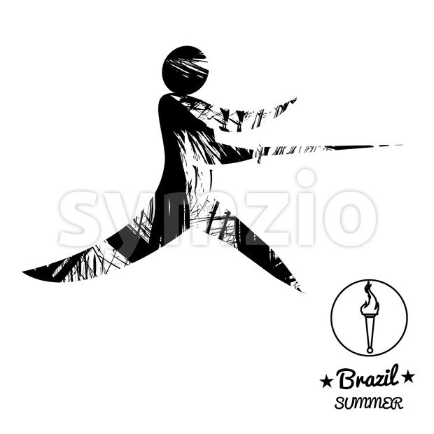 Brazil summer sport card with an abstract fencer, in black outlines. Digital vector image Stock Vector