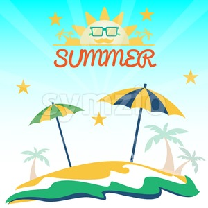 Summer holiday card with beach, sun with glasses, palms and umbrellas. Digital vector image Stock Vector
