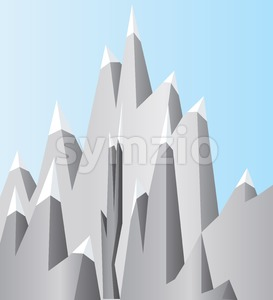 Silver mountains with white snow on top and blue sky. Digital background vector illustration. Stock Vector