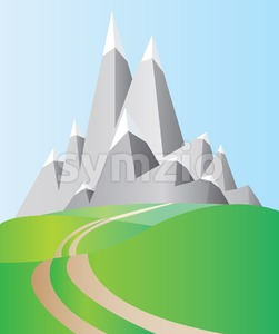 Silver mountains with white snow on top and blue sky and green valleys with a road. Digital background vector illustration. Stock Vector