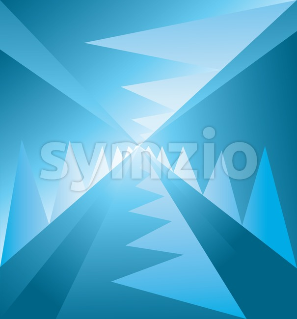 Abstract background with lines and blue zig zags descending to the centre, digital vector image Stock Vector