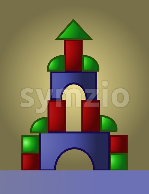 Colored castle playground built from small red, green and blue parts, digital vector image Stock Vector