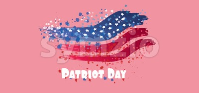 Vector Patriot Day, with blue and red stripes and stars over pink background. Stock Vector