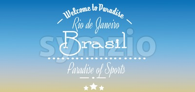 Welcome to Brasil paradise card with stars over blue background, in outlines. Digital vector image Stock Vector