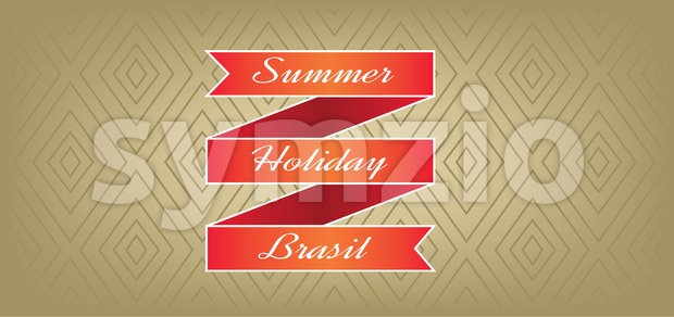 Summer, holiday, Brasil card with red ribbon over brown background with rectangles, in outlines. Digital vector image Stock Vector