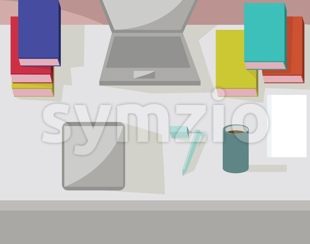 Abstract working place, modern office interior, flat design. Digital vector image Stock Vector
