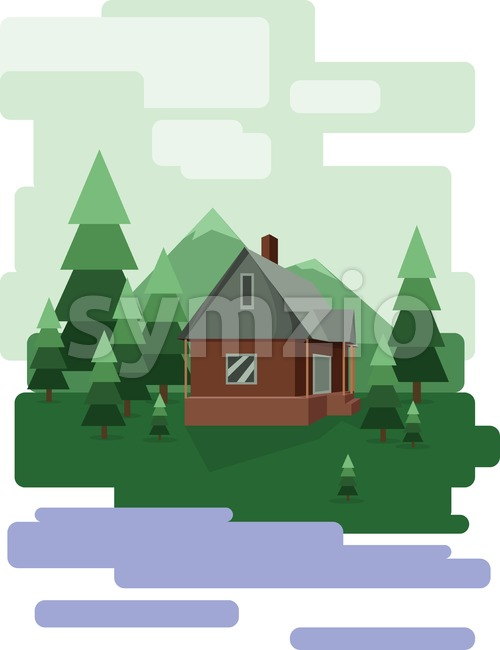 Abstract landscape design with green trees and clouds, a house in the forest and a lake, flat style. Digital vector image. Stock Vector