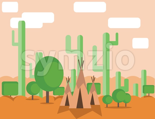 Abstract landscape design with green cactus trees, clouds and indian tents in the desert, flat style. Digital vector image. Stock Vector