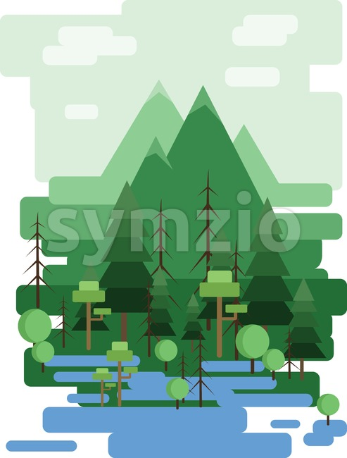 Abstract landscape design with green trees and clouds, a forest and a lake, flat style. Digital vector image. Stock Vector