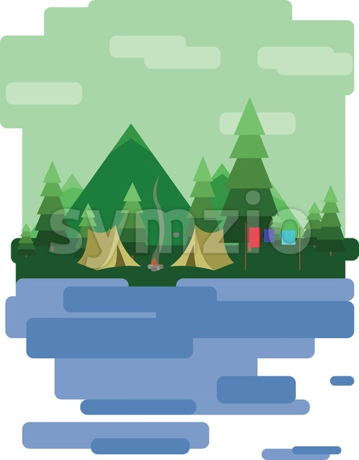Abstract landscape design with green trees and clouds, tents in the forest and a lake, flat style. Digital vector image. Stock Vector