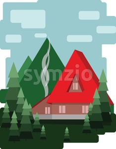Abstract landscape design with green trees and clouds, a red house with smoke, flat style. Digital vector image. Stock Vector