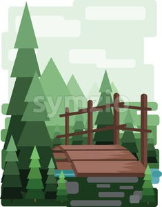 Abstract landscape design with green trees and clouds, a wooden bridge in the forest and a lake, flat style. Digital vector image. Stock Vector