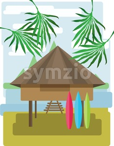Abstract landscape design with palm trees and clouds, wooden tribal house with surf boards, flat style. Digital vector image. Stock Vector