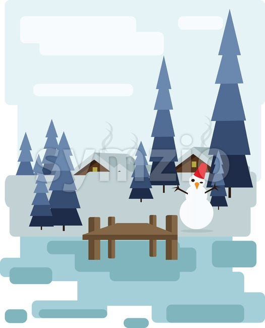 Abstract landscape design with white trees and clouds, a house with smoke, a happy snowman, snowing in a forest in winter, flat style. Digital vector Stock Vector