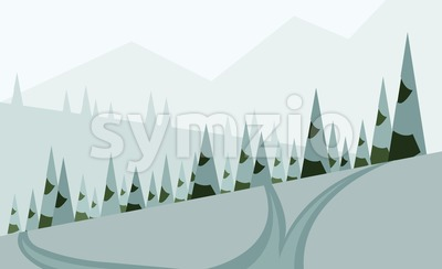 Abstract landscape design with green trees, hills and snow, a road in winter pine forest, flat style. Digital vector image. Stock Vector