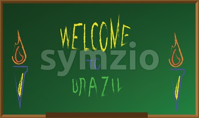 Welcome to brazil, colored hand drawn text witch chalk on green board, torch icons . Digital vector image Stock Vector