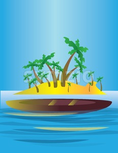 An abstract island in the sea, with yellow land and green palms with a boat. Digital vector image. Stock Vector
