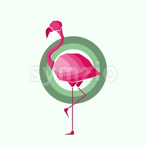 Geometric pink flamingo in outlines in green circles over a light green background. Digital vector image. Stock Vector