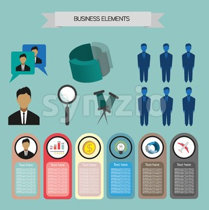 Business elements infographic with icons, charts and money, flat design. Digital vector image Stock Vector
