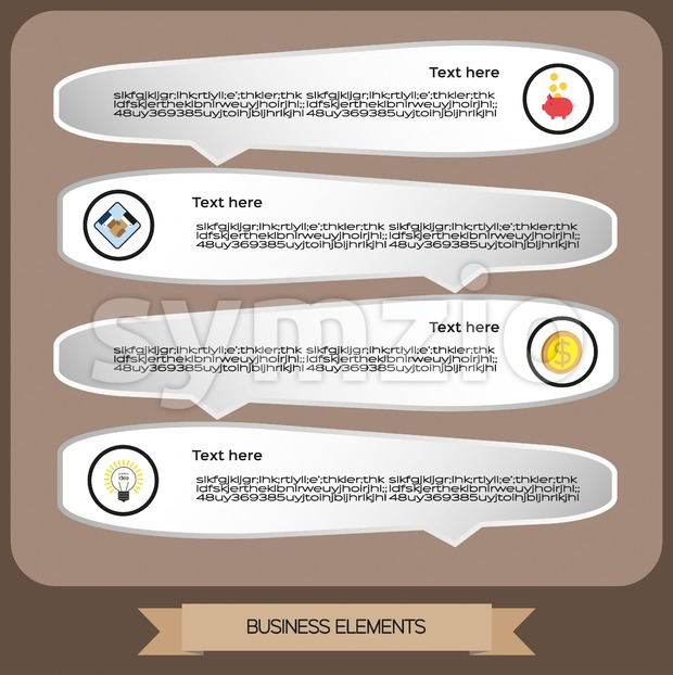 Business elements infographic with icons, business idea and money, flat design. Digital vector image Stock Vector