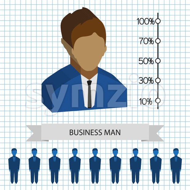 Businessman profiles icons with chart, flat style. Digital vector image Stock Vector