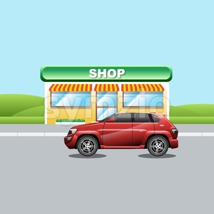 Red crossover on the road near a shop. A vehicle parked near a mini market. Suburban landscape view. Digital vector illustration. Stock Vector