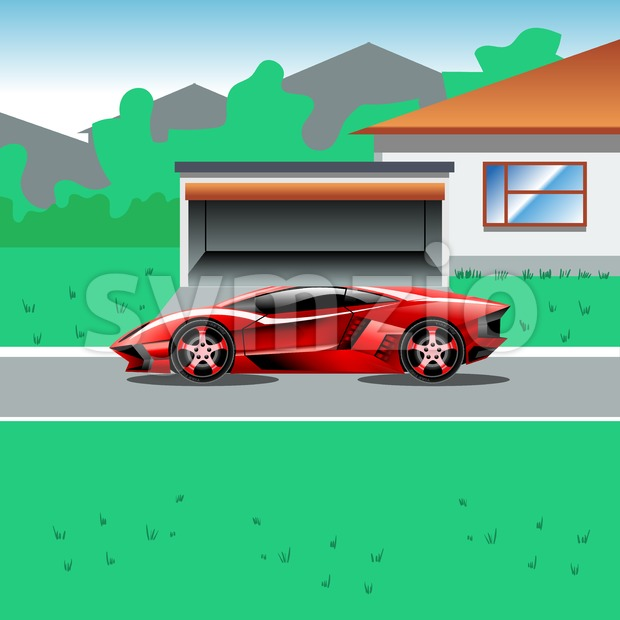 Red luxury sport car parked beside a house with a garage. Suburban house landscape view. Advertising campaign illustration for a sport car. Beautiful Stock Vector