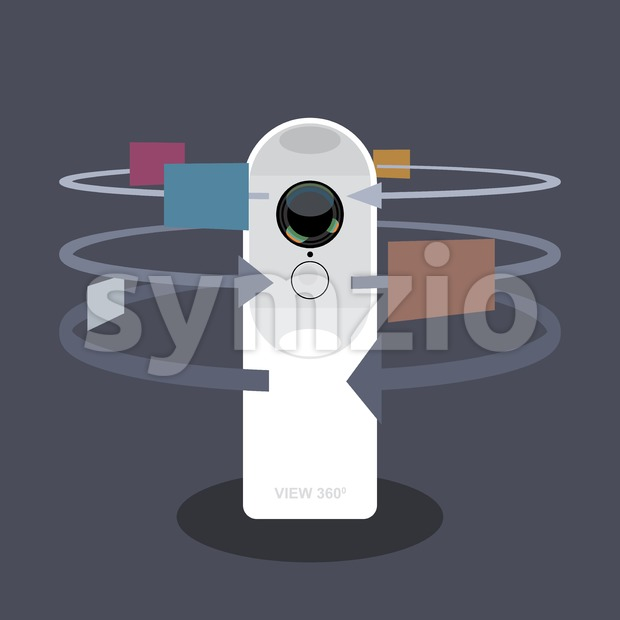A white 360 degree camera video recorder with apps and functions icons, digital vector image Stock Vector