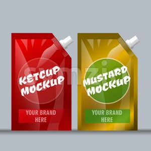 Digital vector red and brown ketchup and mustard Stock Vector