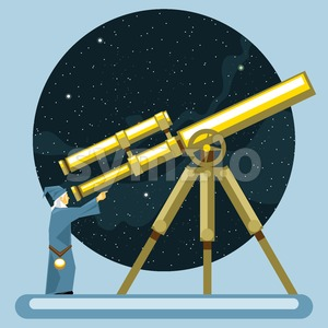 Ancient mag looking into a telescope and pointing with hand, observing stars, planets and galaxies. Digital vector image. Stock Vector