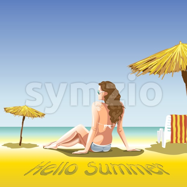 A girl with sun glasses and swimming suit at the beach and sea, near palms and beach chair with towel in lines. Hello summer, smiling sun. Digital Stock Vector