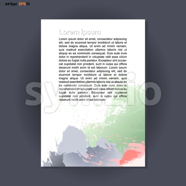 Abstract print A4 design with colored brush strokes, for flyers, banners or posters over silver background. Digital vector image. Stock Vector