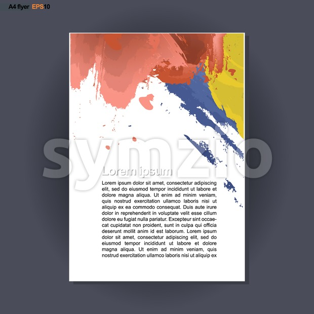 Abstract print A4 design with blue, red and yellow brush strokes, for flyers, banners or posters over silver background. Digital vector image. Stock Vector