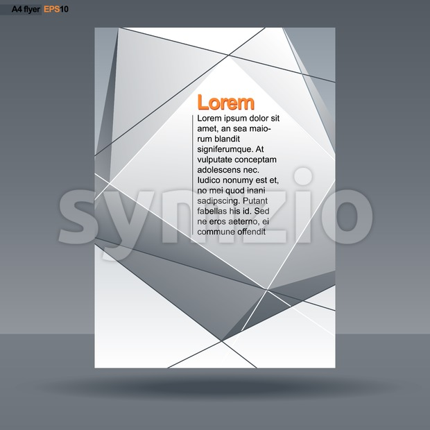Abstract print A4 design with silver triangles and lines, for flyers, banners or posters over silver background. Digital vector image. Stock Vector