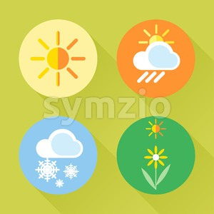 Weather set flat style. Sun, snow, clouds, flower, harvest. Digital vector image Stock Vector