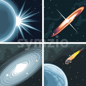 Digital vector cosmos icons set with galaxy, planet earth, commet, milky way and solar system over stelar background, flat style. Stock Vector