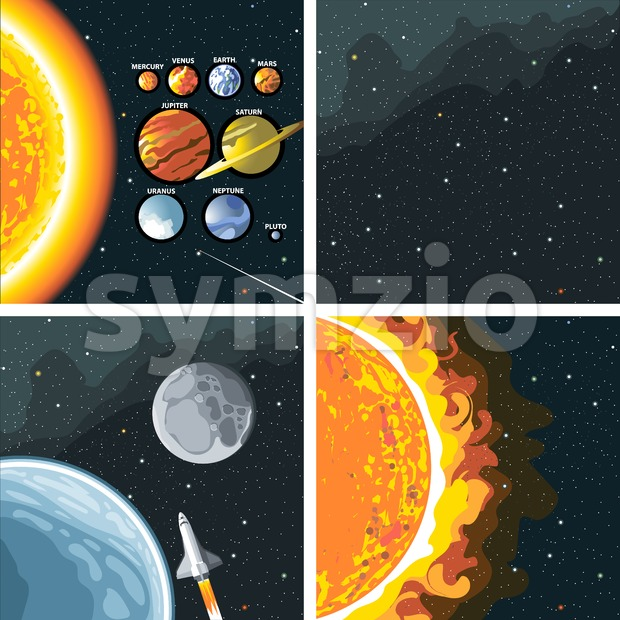 Digital vector cosmos icons set with galaxy, planet earth, shuttle, bright sun and solar system over stelar background, flat style. Stock Vector