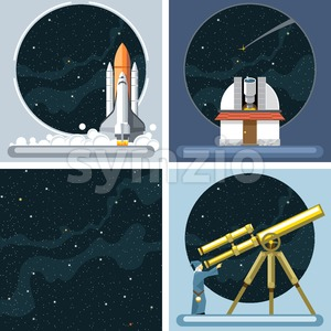 Digital vector silver cosmos rocket icons set with launch, ancient observatory, commet, antenna and empty space over stelar background, flat style. Stock Vector