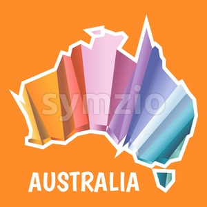 Digital vector australia map with abstract colored triangles and white outline, flat style Stock Vector