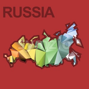Digital vector russia map with abstract colored triangles and red outline, flat style Stock Vector