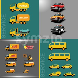 Digital vector orange and red auto car icon set, food delivery, police, taxi, truck, ambulance and service. Stock Vector
