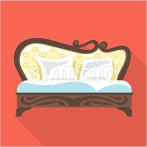 Digital vector vintage brown sofa with pillows over red background isolated, flat style Stock Vector