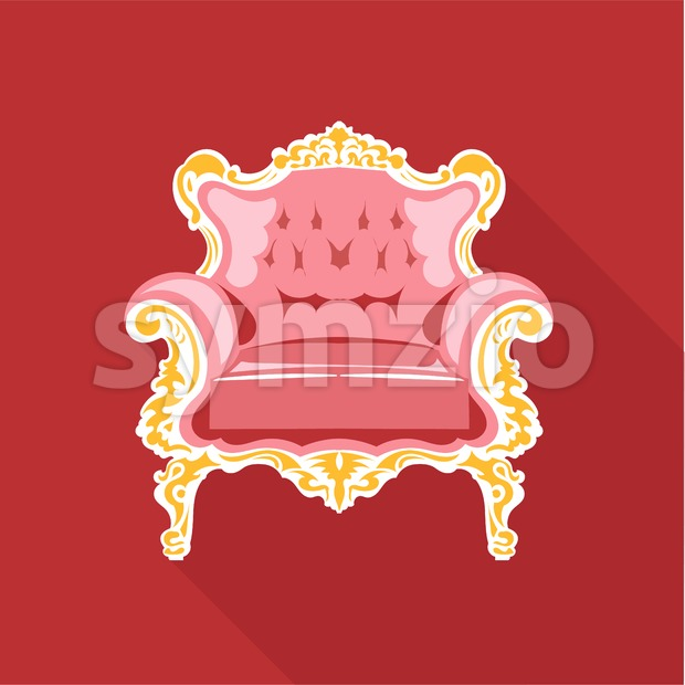 Digital vector golden and pink vintage chair over red background isolated, flat style Stock Vector