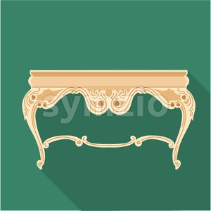 Digital vector golden vintage table isolated on red background, flat style Stock Vector