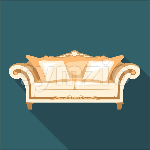 Digital vector vintage brown sofa with pillows and ornaments over dark background isolated, flat style Stock Vector